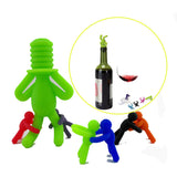 7 Piece Silicone Set of 1 Wine Bottle Stopper With Six Wine Glass Little People Marker. - love myself deals
