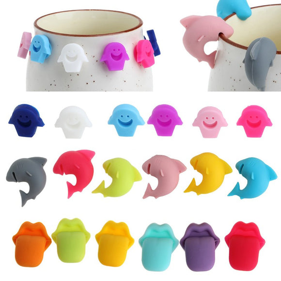 6pcs/set Silicone Dolphin Shape, Lips Shape, Smiley Face, Glass Label/Recognizer. - love myself deals