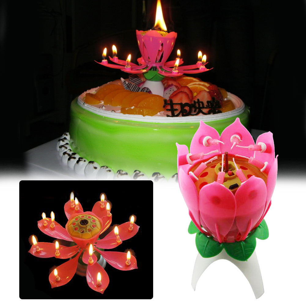 Pink Musical Lotus Flower Rotating Happy Birthday Candle Love