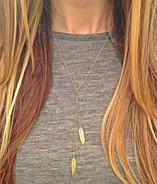 Gold color Tie Necklace with 2 Hanging Feathers. - love myself deals