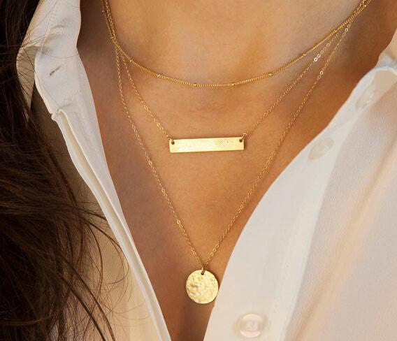 3 Layer Gold Chain Bar and Circle Necklace. - love myself deals