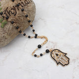 Stylish Gold and Black Beads Evil Eye Hamsa Chain Necklace. - love myself deals