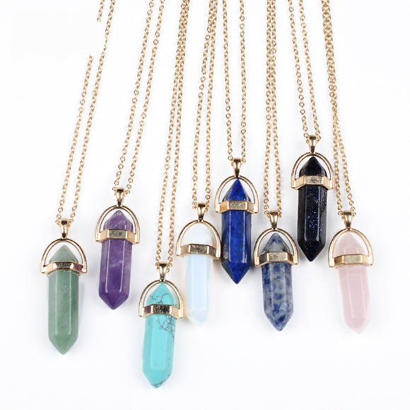 Natural Crystal Pendant Necklace Jewlery in Gold. - love myself deals