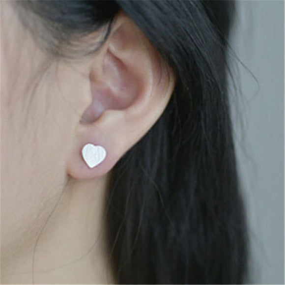 Modern Heart Studs Silver Plated Earrings. - love myself deals