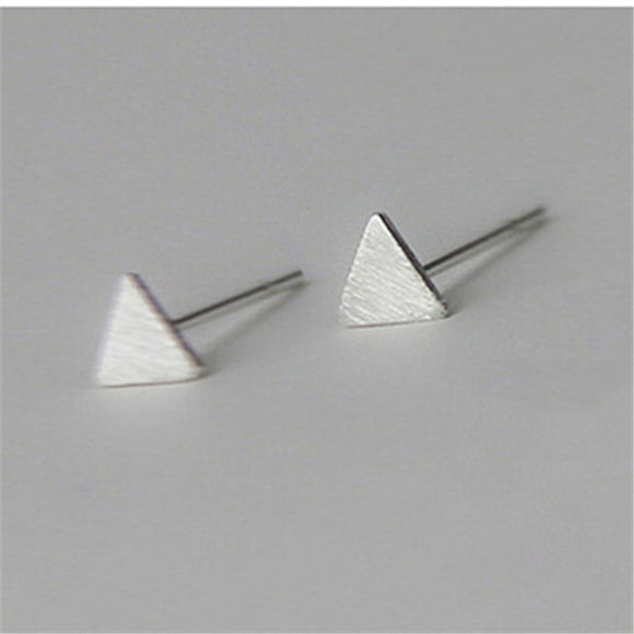 Modern Silver Plated Triangle Stud Earrings. - love myself deals