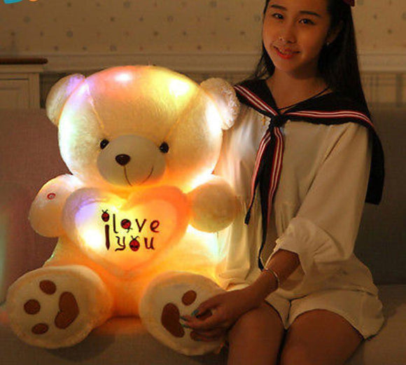 Soft LED Glowing I LOVE YOU Teddy Bear. - love myself deals