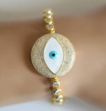 Luxurious Fashion Gold Evil Eye Swarovski Inspired Bracelet. - love myself deals