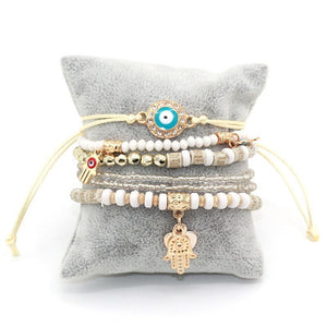 6pcs/set Hamsa Love Heart Charm Bracelet. - love myself deals