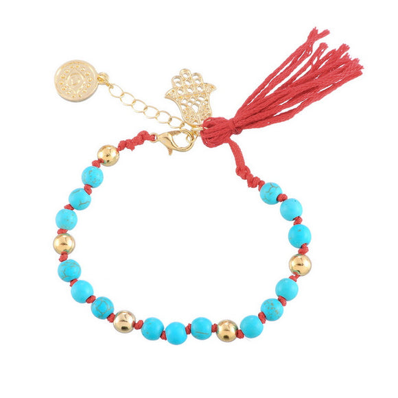 Turqoise and Red Stone Beaded Hamsa Charm Bracelet. - love myself deals