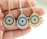 Luxurious 925 Sterling Silver Turquoise CZ Pear Eye Shape Pendant Necklace. - love myself deals