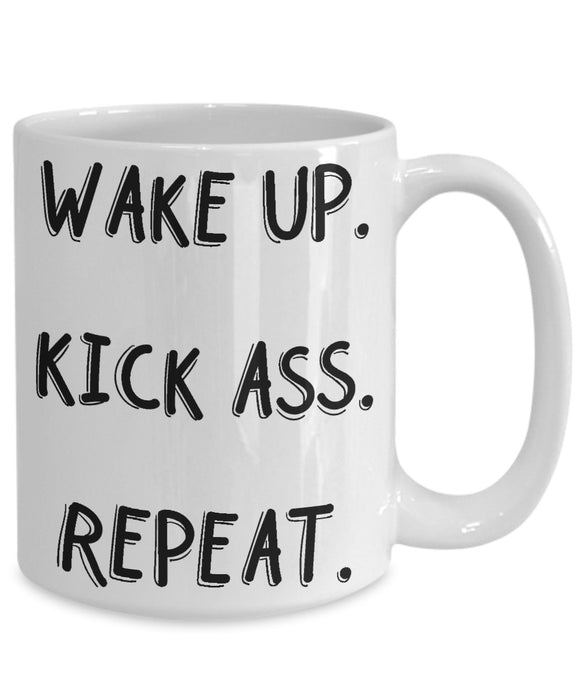 WAKE UP KICK ASS REPET-MUG - love myself deals