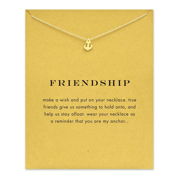 Dazzling Gold friendship Anchor Pendant necklace. - love myself deals