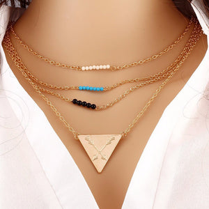 3 Layer Gold Chain Bar Necklace with Beads and Long Strip Triangle Pendant Necklace. - love myself deals