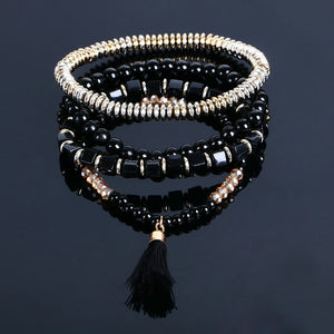 Elastic Style Multi-layer Bohemian Beaded Bracelets with Tassel Charm. - love myself deals