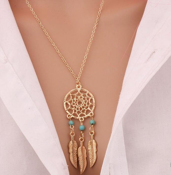 Fashion BohemianTassels Feather Pendant Necklace Jewelry in Silver and Gold. - love myself deals