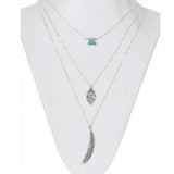Multi 3 layer Leaf  and Feather Long Pendant Necklace. - love myself deals