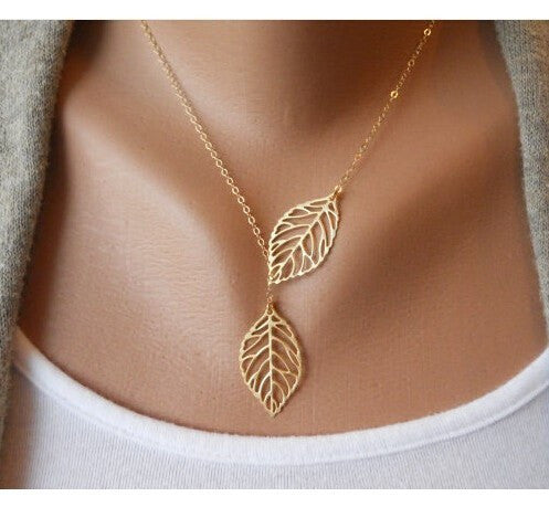 Classy Double Leaf High Fashion Necklace. Available in Silver/Gold. - love myself deals