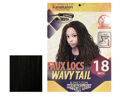 KINGSTON KINGTWIST FAUX LOCS WAVY TAIL 18