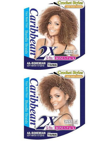"Afri Naptural Caribbean 4A-Bohemian Bundle Braids Crochet Hair 2 in 1 bonus pack, 10"" - GABBY'S HAIR"