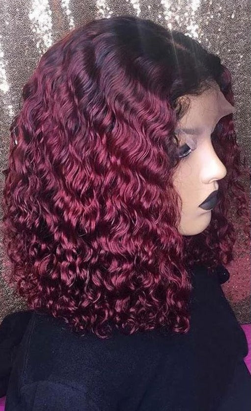 Short Curly 13x4 Lace Front BOB Wig T1B/Burgundy / 16inches - GABBY'S HAIR