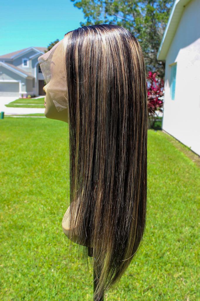 Peruvian Honey Blonde Highlight 1B#/27 13x6 Lace Front Wig - GABBY'S HAIR
