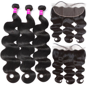 Brazilian Body Wave Human Hair 3 Bundles + Frontal - GABBY'S HAIR