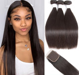 Brazilian Straight 3 Bundle + Closure 4x4 - GABBY'S HAIR
