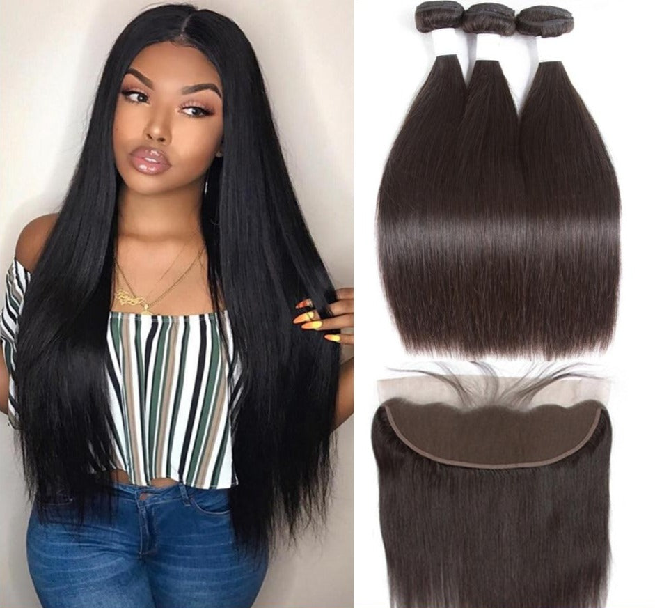 Malaysian Straight Human Hair 3 Bundles + Frontal - GABBY'S HAIR