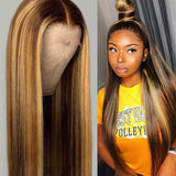 Straight Brazilian Honey Blonde 4/27 Highlight 13x6 Lace Front Wig - GABBY'S HAIR
