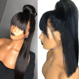 Straight 13x6 Lace Front Human Hair Wig With Bangs - GABBY'S HAIR