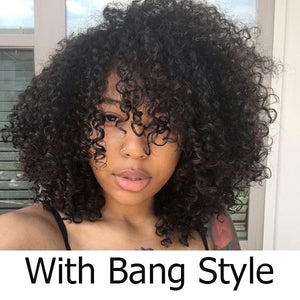 Afro Kinky Curl 13X6 Lace Front Wig With Bang 16inches - GABBY'S HAIR