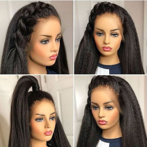 Kinky Straight 13x6 Lace Front Transparent Lace Wig - GABBY'S HAIR