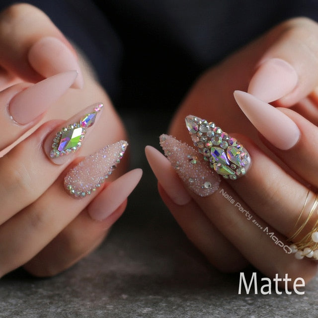 Gabby's Pink Diamond Stiletto press on Crystal Glitter Nail Matte Crytal - GABBY'S HAIR