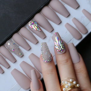 Gabby's Nude Coffin press on Glitter Ballet Nail Default Title - GABBY'S HAIR