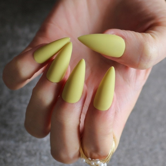 Gabby's Matte Stiletto press on Nails Yellow - GABBY'S HAIR