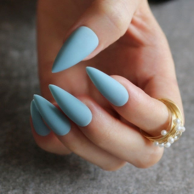 Gabby's Matte Stiletto press on Nails Baby Blue - GABBY'S HAIR