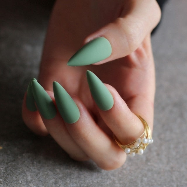 Gabby's Matte Stiletto press on Nails Green - GABBY'S HAIR