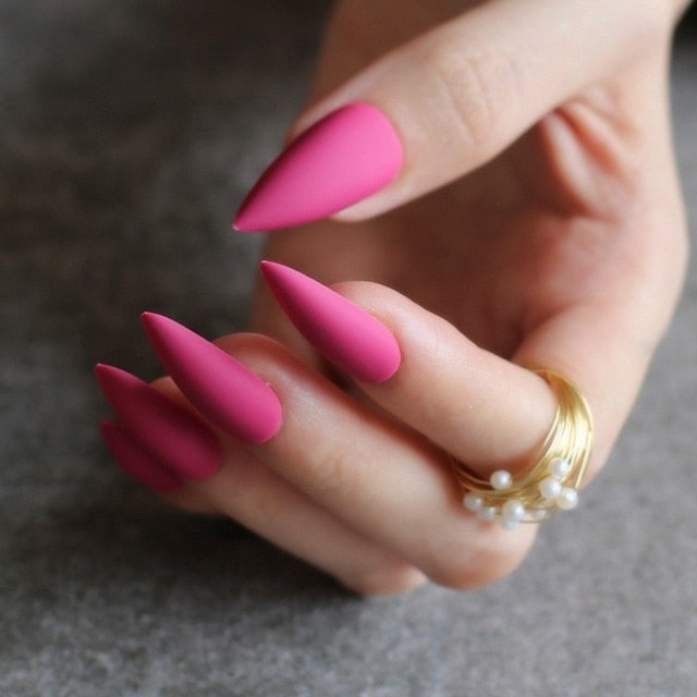 Gabby's Matte Stiletto press on Nails Pink - GABBY'S HAIR
