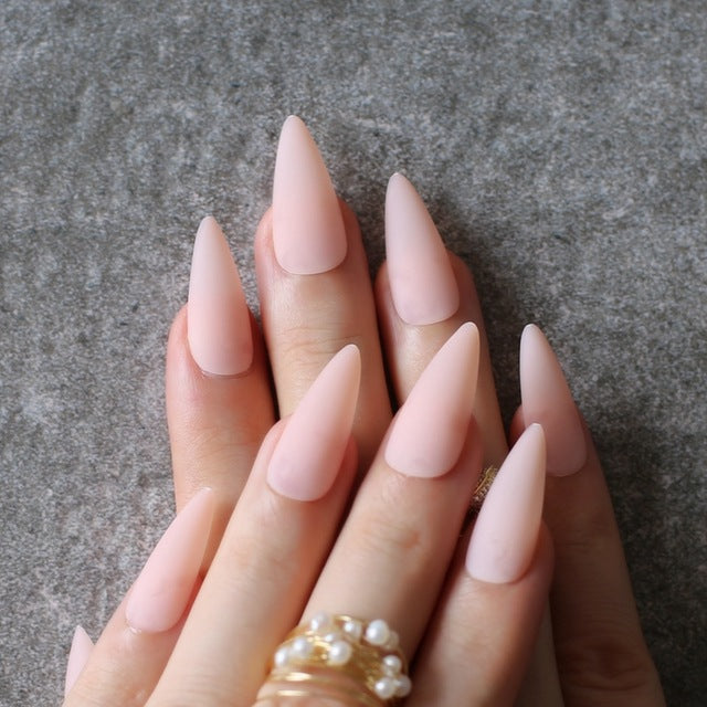 Gabby's Matte Stiletto press on Nails Nude - GABBY'S HAIR