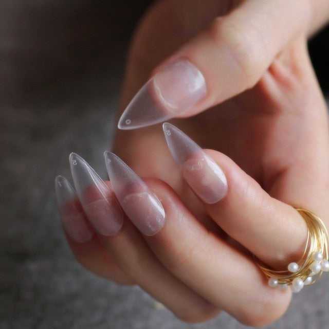 Gabby's Matte Stiletto press on Nails Transparent - GABBY'S HAIR