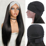 Peruvian Straight Headband Human Hair Wigs W/Free Scarf No Glue Beginner Friendly - GABBY'S HAIR