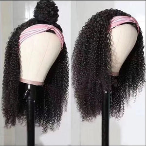 Kinky Curly Headband Human Hair Wigs W/Free Scarf No Glue Beginner Friendly - GABBY'S HAIR