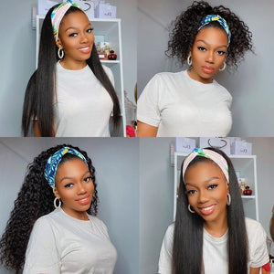 Kinky Straight Headband Human Hair Wigs W/Free Scarf No Glue Beginner Friendly - GABBY'S HAIR