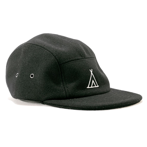 Black Five-Panel Wool Cap
