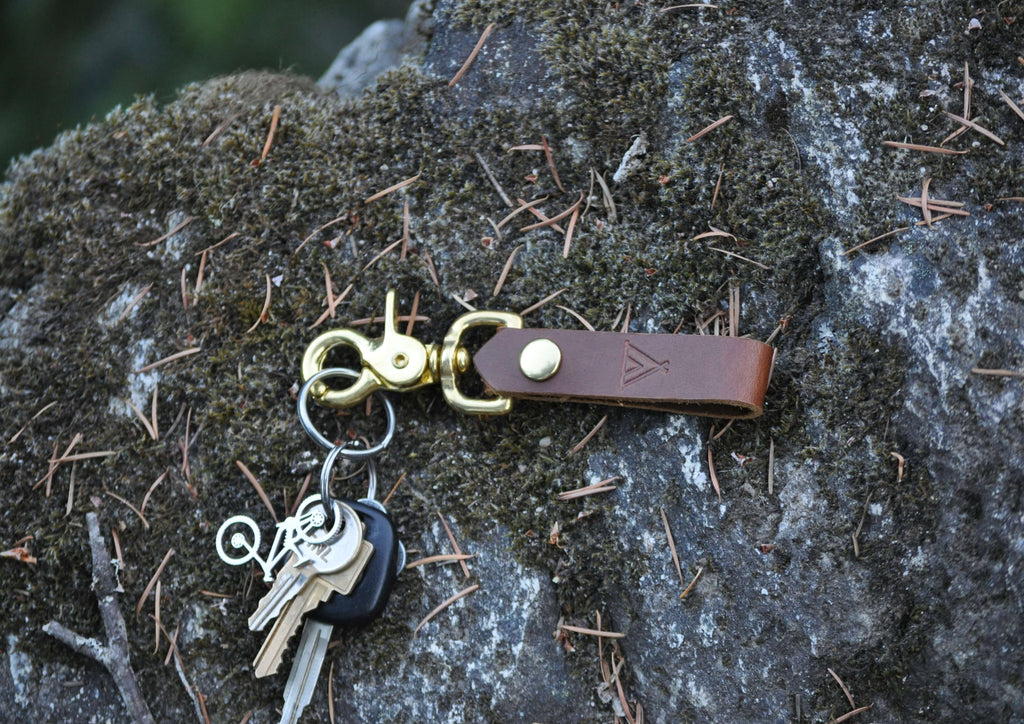 Camp Brown Leather Keychain