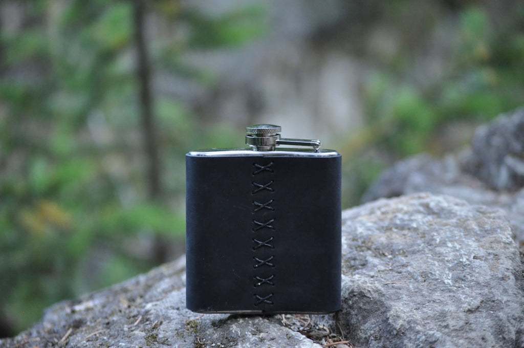 Black Leather Wrap Hip Flask