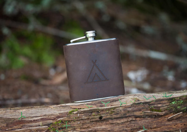 Brown Leather Wrap Hip Flask