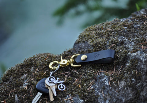 Camp Black Leather Keychain