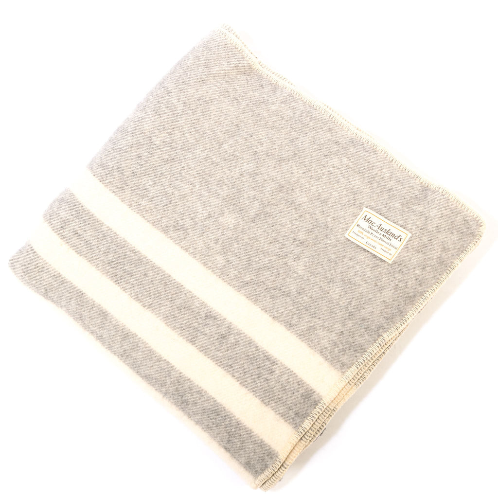 Canadian Wool Queen Blanket Light Grey/White