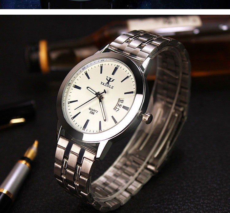 YAZOLE Luxury Brand Stainless Steel Analog Waterproof Men's Quartz Watch